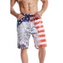 Guys Stylish Flag Eagle Patterned Drawstring Waist Relaxed Shorts in Blue