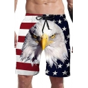 Popular Mens White Drawstring Waist Flag Eagle 3D Printed Straight Shorts
