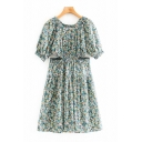 Classic Womens Ditsy Flower Printed Short Sleeve Round Neck Cut Out Short Pleated Swing Dress in Green