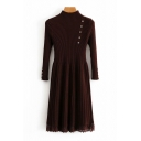 Elegant Ladies Plain Long Sleeve Mock Neck Button Detail Lace Patched Knit Mid A-line Pleated Dress