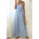Womens Blue Jumpsuits Creative All-over Leaf Printed Bow-Knot Waist Strapless Full Length Loose Fitted Sleeveless Wide Leg Jumpsuits
