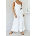 Classic Womens Jumpsuits Plain Buckle Embellished Sleeveless One Shoulder Regular Fitted Long Wide Leg Jumpsuits