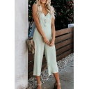 Womens Jumpsuits Creative Solid Color Front Button Detail V-Neck Loose Fitted Sleeveless Capri Jumpsuits