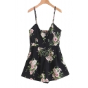 Cool Womens Rompers Floral Pattern Single-Breasted Backless Sleeveless Strap Regular Fitted Rompers