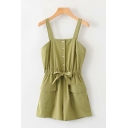Womens Rompers Stylish Solid Color Single-Breasted Drawstring Waist Flap Pockets Sleeveless Strap Loose Fitted Rompers