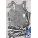 Simple Girls Sleeveless Scoop Neck Racer Back Alpaca Print Relaxed Fitted Tank Top