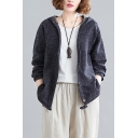 Womens Ethnic Ditsy Flower Printed Long Sleeve Hooded Zip Up Linen Loose Fit Jacket