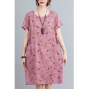 Pretty Womens Ditsy Flower Printed Linen and Cotton Short Sleeve Round Neck Short Shift Dress in Pink