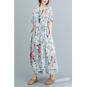 Stylish Womens All Over Floral Printed Short Sleeve Round Neck Linen and Cotton Drawstring Waist Mid Pleated Swing Dress