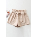 Retro Womens Shorts Plain Tie Bud Elastic Waist Regular Fitted Wide Leg Relaxed Shorts