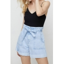 Womens Blue Shorts Trendy Light Wash Roll-up Bow-Tie Elastic Waist Regular Fitted Denim Shorts