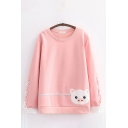 Leisure Pig Embroidered Lace-up Long Sleeve Crew Neck Sherpa Liner Relaxed Pullover Sweatshirt