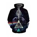 Cool Geometric Rainbow 3D Galaxy Print Long Sleeve Purple Unisex Hoodie