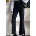 Fashionable Womens Plain Zipper Fly Button Detail Fringed Hem High Waist  Ankle Length Bootcut Jeans in Black