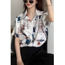 Chic Ladies Abstract Flower Cartoon Printed Short Sleeve Spread Collar Button Up Relaxed Fitted Shirt Top
