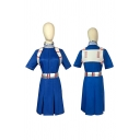 Popular Mens Patched Short Sleeve Stand Collar Slit Midi A-line Dress in Blue