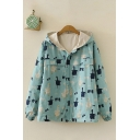 Preppy Womens All-over Goose Printed Logn Sleeve Hooded Zip Up Patchwork Relaxed Fit Jacket in Blue