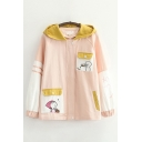 Classic Girls Cartoon Pattern Contrasted Long Sleeve Hooded Zip Up Loose Fit Coat