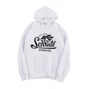 Stylish Letter Schrule Farms Cartoon Radish Graphic Long Sleeve Pouch Pocket Loose Hoodie