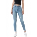 Women's Fancy Jeans Frayed High-rise Pockets Full Length Button Closure Light Wash Skinny Jeans