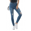 Fashion Womens Jeans Contrast Side Distressed Medium Wash Full Length Zip Placket High Rise Skinny Pocket Jeans