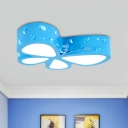 Butterfly Drawing Room Ceiling Lamp Acrylic Kids Style LED Flush Mount Fixture in Pink/Blue/Orange, Warm/White Light