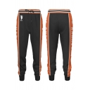 Casual Letter Karasuno Graphic Contrasted Drawstring Waist Cuffed Ankle Tapered Fit Sweatpants in Black