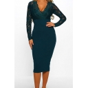 Womens New Trendy Elegant Plain Long Sleeve V-Neck V-Back Lace Patchwork Slim Fit Midi Pencil Dress
