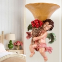 Yellow Glass Bell Wall Mount Light Countryside 1 Head Bedroom Wall Mounted Lamp with Angel Boy Decor in Pink