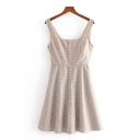 Casual Womens Plaid Printed Sleeveless Square Neck Button Up Short A-line Tank Dress in Khaki