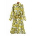Unique Ladies All Over Elephant Printed Long Sleeve Point Collar Button Up Bow Tied Waist Mid A-line Shirt Dress in Yellow