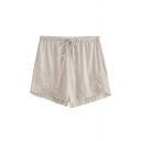 Trendy Womens Shorts Floral Embroidery High-rise Drawstring Waist Scalloped Straight Fit Basic Shorts