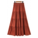 Womens Skirt Fashionable Plain Panel Swing High Elastic Rise Maxi A-Line Tiered Skirt