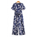 Womens Jumpsuits Trendy Dog Printed Tie-Waist Zipper Back Round Neck Loose Fitted Short Sleeve Wide Leg Jumpsuits