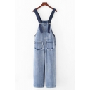 Retro Womens Overalls Pants Faded Wash Frayed Panel Pockets Regular Fitted Straight Denim Overalls Pants