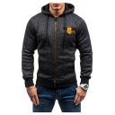 Mens Fashion Hooded Sweatshirt Space Dye Drawstring Ribbed Trim Pockets Zip Closure Button Long-sleeved Slim Fit Hooded Sweatshirt