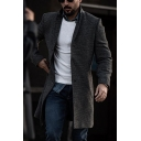 Vintage Mens Trench Coat Woven Mid-Length Button up Turn-down Collar Long Sleeve Slim Fitted Trench Coat