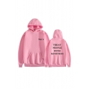 Simple Letter Harry Treat People With Kindness Printed Drawstring Long Sleeve Relaxed  Fit Hooded Sweatshirt with Kangaroo Pocket