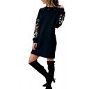 Stylish Womens Flower Printed Long Sleeve Crew Neck Short Shift Dress