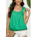 Sexy Ladies Solid Color Elastic Hem Open Back Bow Tie Shoulder Sleeveless Loose Fit Blouse Top in Green