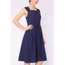 Stylish Plain Pleated Button Front Lace-up Backless Square Neck Sleeveless Midi A-Line Dress for Women