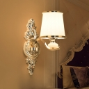 Tapered Frosted Glass Wall Lamp Countryside 1/2-Head Bedroom Wall Sconce Lighting in Chrome/Gold