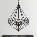 3-Light Living Room Chandelier Modern Black Metal Pendant Light with Diamond Cage Metal Shade