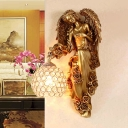 Angel Corridor Wall Sconce Lighting Rural Resin 1 Light White/Dark Gold Wall Lamp with Orb Crystal Embedded Shade, Right/Left