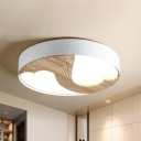 Nordic Loving Heart Ceiling Light Metal LED Bedroom Flush Mount Lighting Fixture in White with Wood Detail