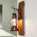 Clear Glass Brown Wall Lighting Ideas Lantern 1 Head Warehouse Wall Light Sconce with Wood Backplate