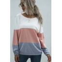 Trendy Womens Colorblock Long Sleeve Round Neck Bow Tied Cut out Back Loose Fit Pullover Sweatshirt
