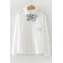 Stylish Ladies Embroidered Long Sleeve Bow Tied Turn down Collar Button-up Pleated Loose Shirt in White