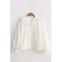 Pretty Ladies White Stringy Selvedge Long Sleeve Peter Pan Collar Button-up Pleated Relaxed Shirt Top