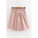 Leisure Solid Color Drawstring Waist Rolled Cuffs Relaxed Fit Shorts for Women